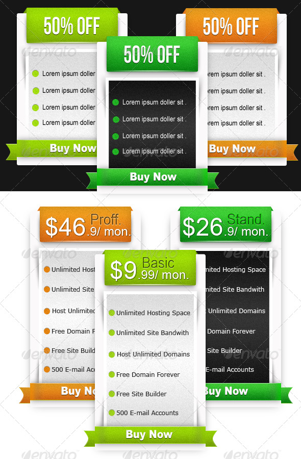 Web Pricing Table & Boxes  - Tables Web Elements