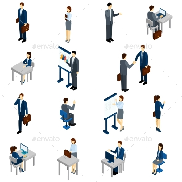 Business People Isometric Set - People Characters