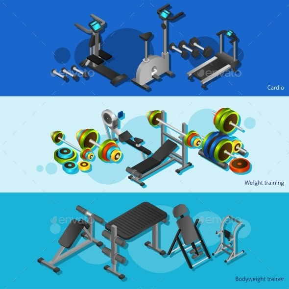 Fitness Equipment Posters Set - Backgrounds Decorative
