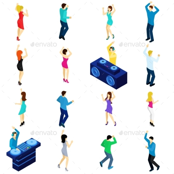 Dancing People Isometric - People Characters