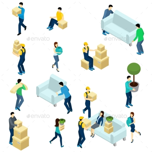 People Relocating Isometric - Miscellaneous Vectors