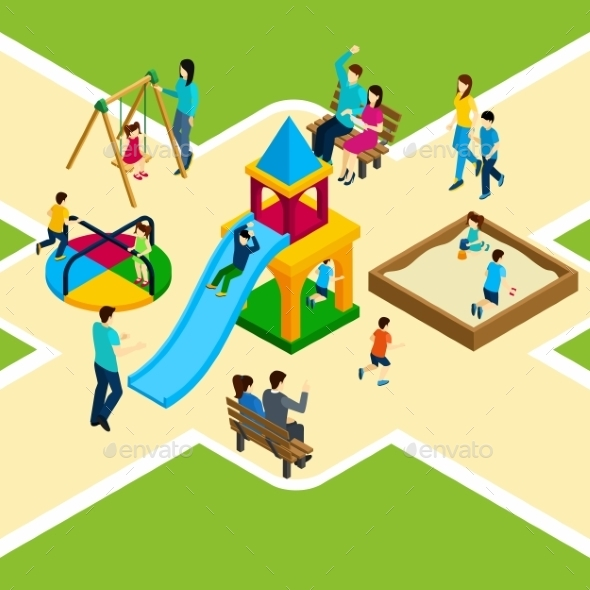 Isometric Kids Playground - People Characters