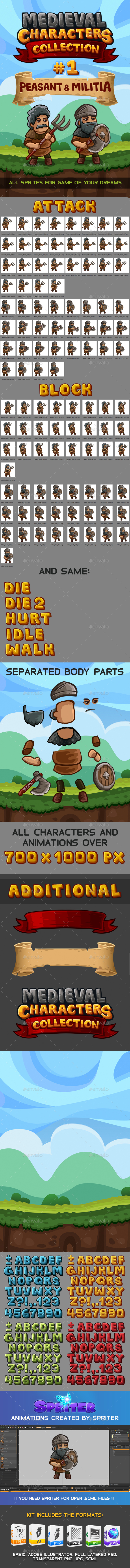 Medieval Game Sprites Characters Collection #1 - Sprites Game Assets