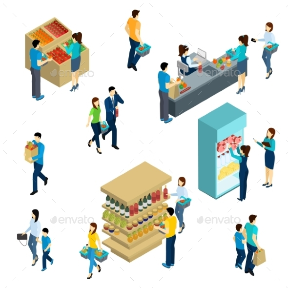 Isometric People Shopping - People Characters