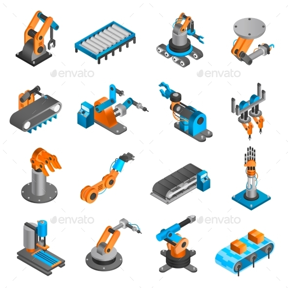 Industial Robot Isometric Icons - Man-made Objects Objects