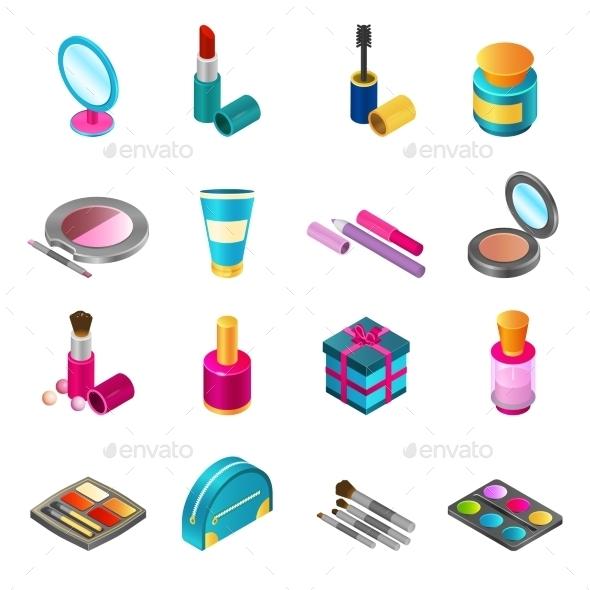 Cosmetics Isometric Set - Decorative Symbols Decorative