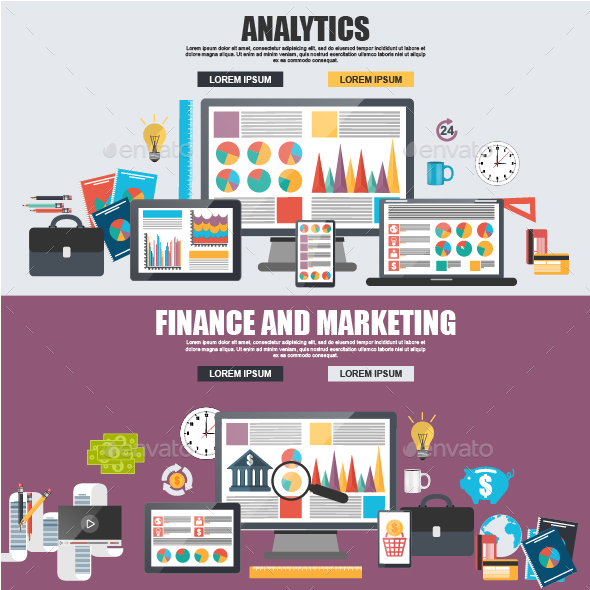Flat Design Concepts of Finance and Analytics - Concepts Business