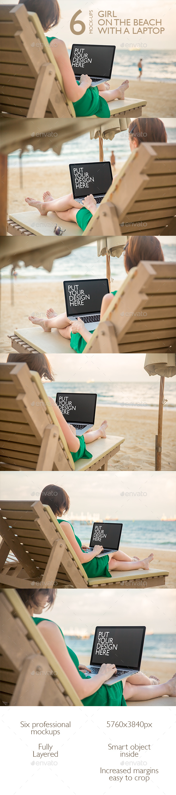 Girl on the Beach with a Laptop - Laptop Displays