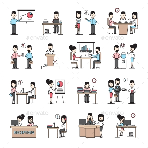 Business People Workplace Icons Set - Decorative Symbols Decorative
