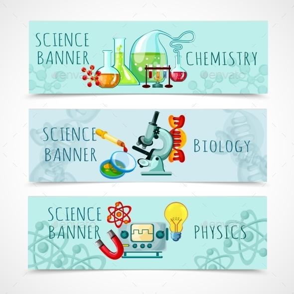 Science Banner Set - Miscellaneous Vectors