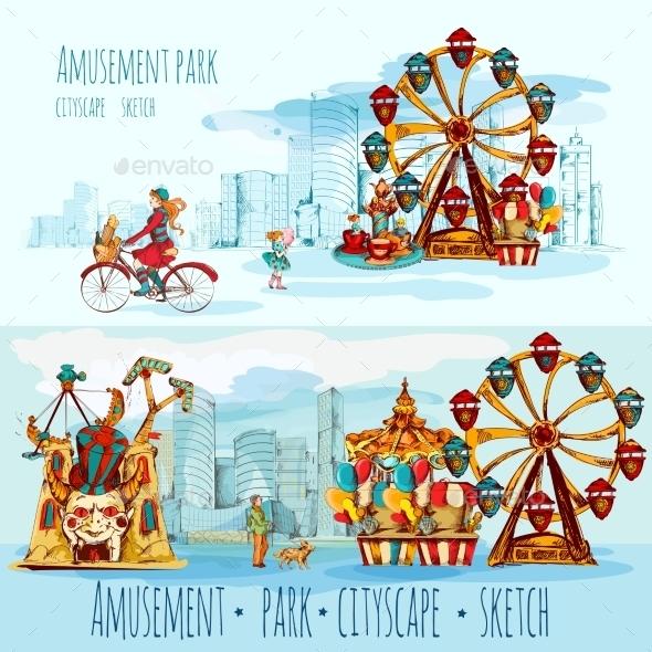 Amusement Park Cityscape - Buildings Objects