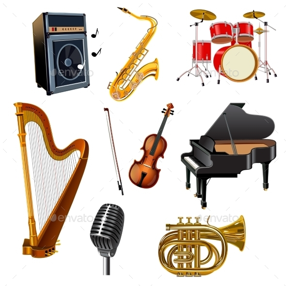 Musical Instruments Set - Man-made Objects Objects