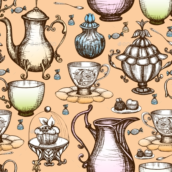 Vintage Tea Seamless Pattern - Food Objects