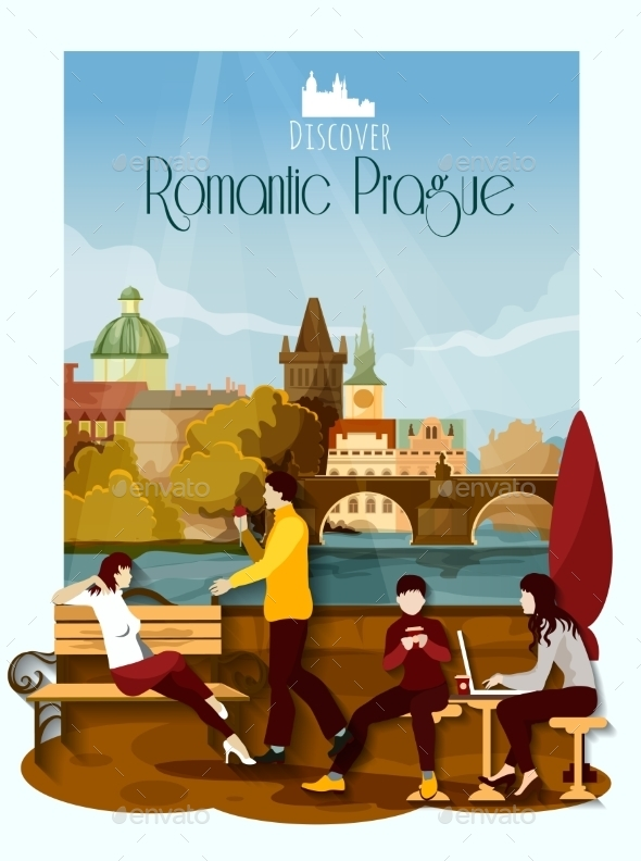 Prague Poster Illustration - Buildings Objects