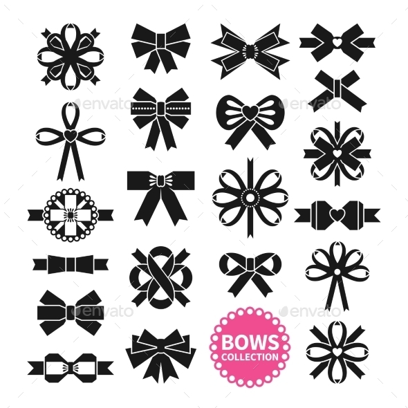 Black Bows Set - Decorative Symbols Decorative