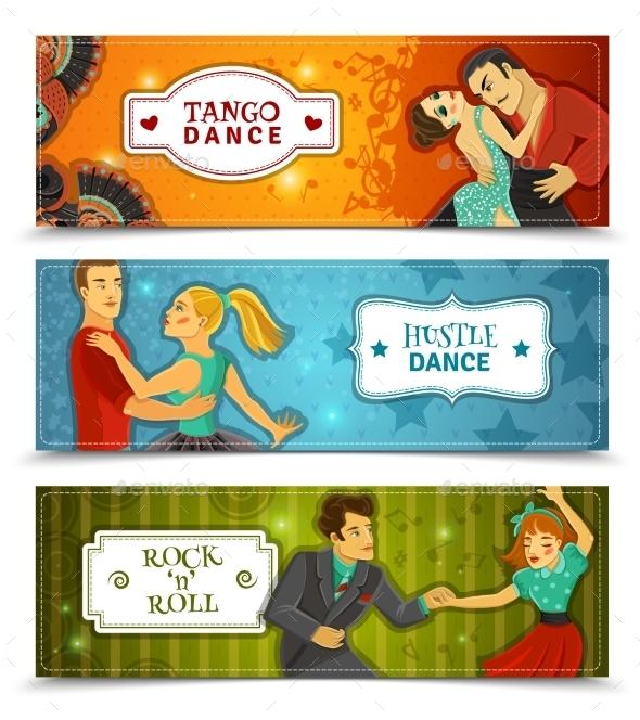 Dance Vintage Horizontal Flat Banners Set - Miscellaneous Conceptual