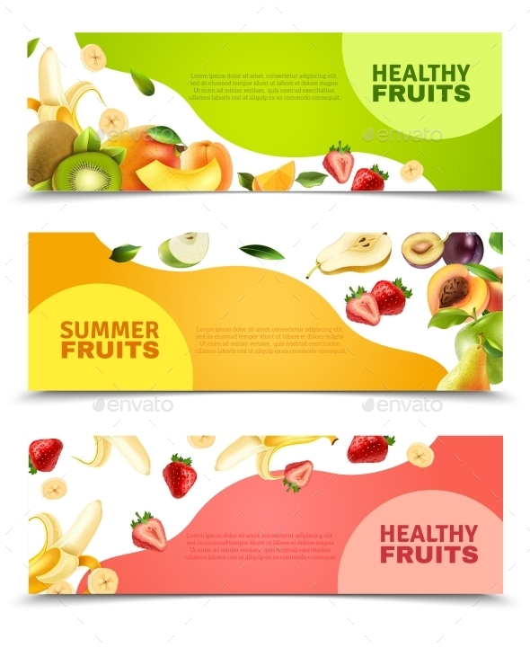Fruits Colorful Flat Horizontal Banners Set - Food Objects