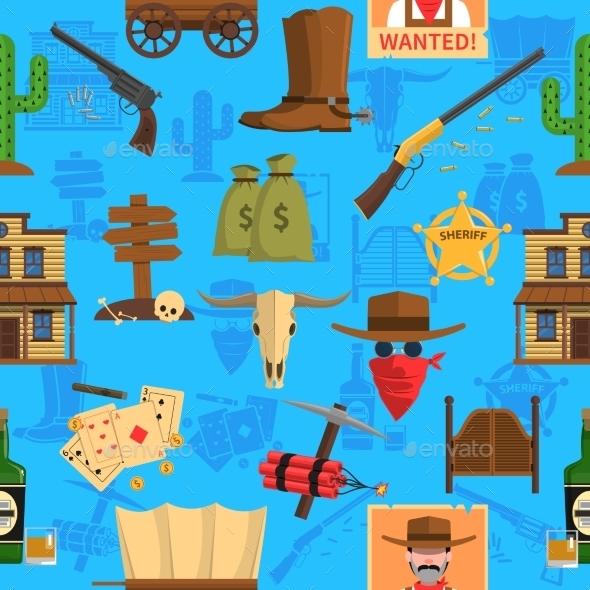 Cowboy Seamless Pattern - Backgrounds Decorative
