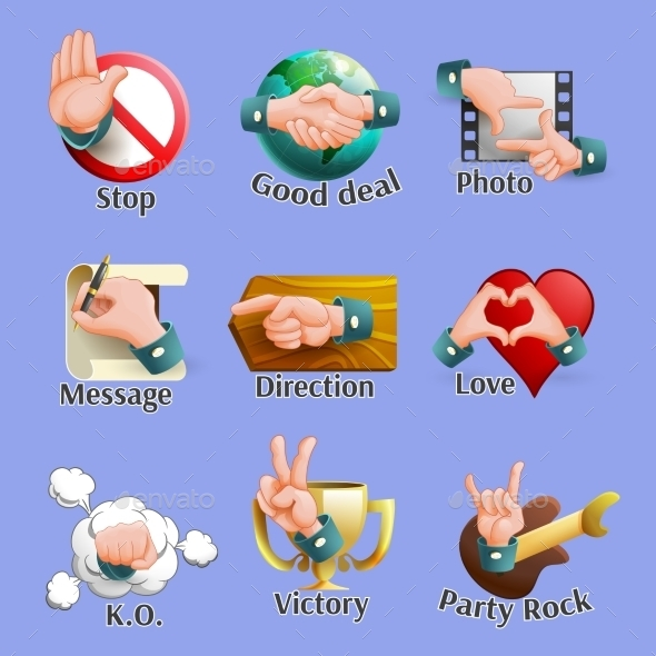 Web Social Gestures Emblems Set - Web Elements Vectors