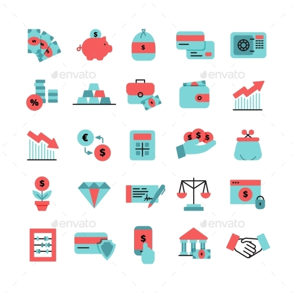 Flat Color Finance Icons Set - Business Icons