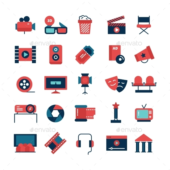 Flat Color Cinema Icons - Media Icons