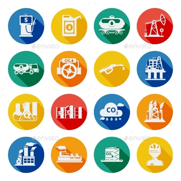 Oil Industry Icons Flat - Miscellaneous Icons