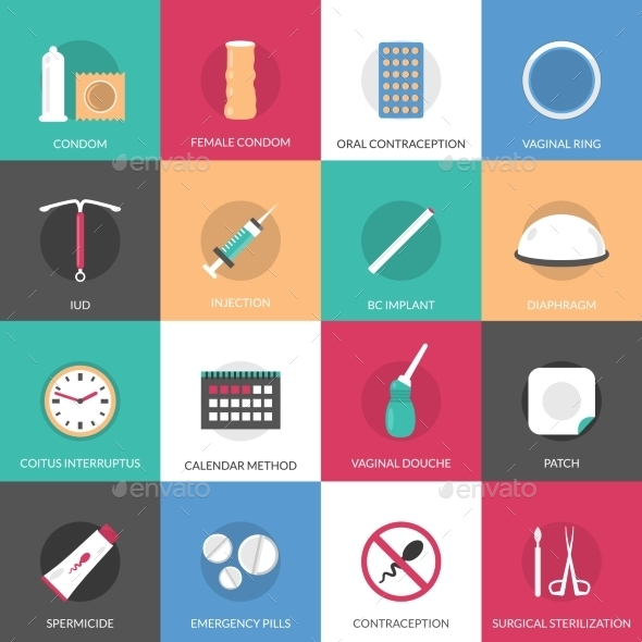 Contraception Methods Icons Set - People Characters