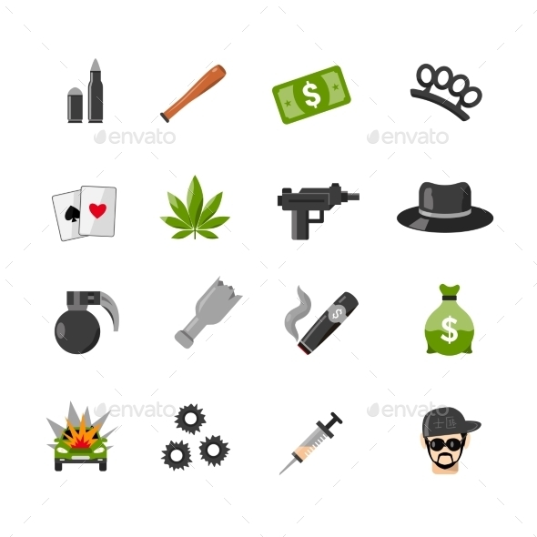 Flat Isolated Gangster Icons - Decorative Symbols Decorative