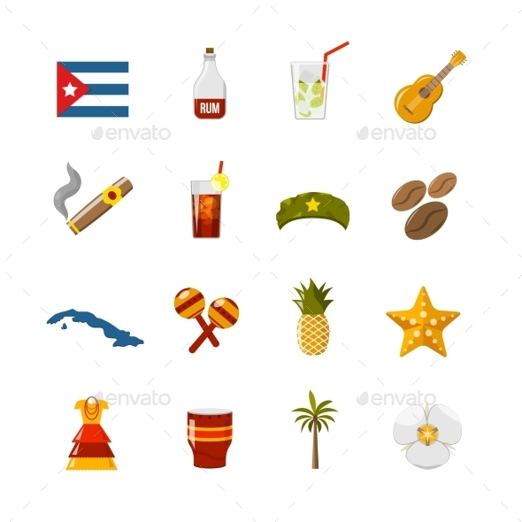 Flat Color Isolated Cuba Icons - Decorative Symbols Decorative