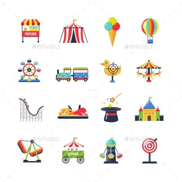 Flat Color Isolated Amusement Park Icons - Decorative Symbols Decorative