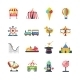 Flat Color Isolated Amusement Park Icons - GraphicRiver Item for Sale