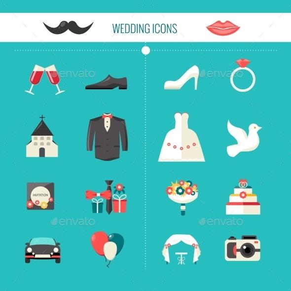 Color Decorative Wedding Icons - Decorative Symbols Decorative
