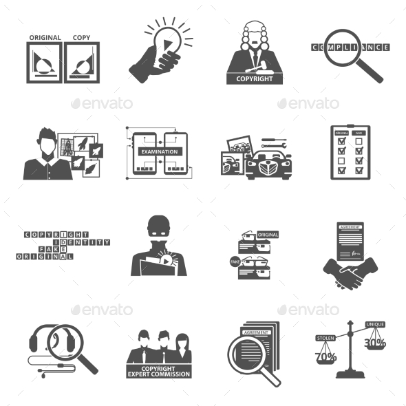 Compliance Copyright Law Black Icons Set - Abstract Icons