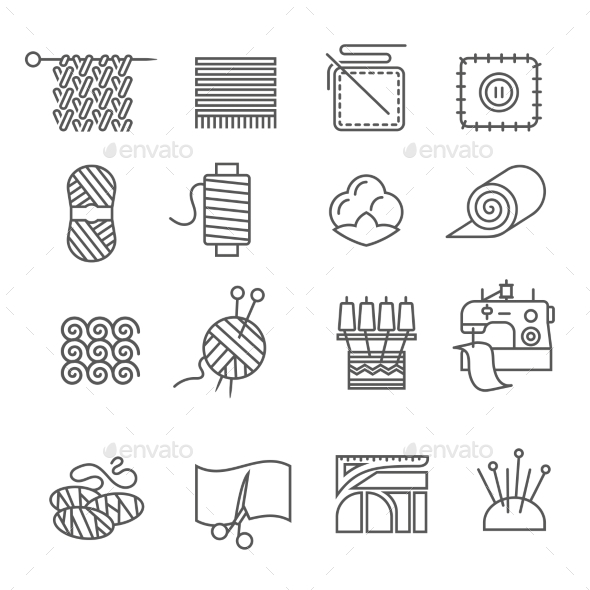 Textile Industry Icons Set - Abstract Icons