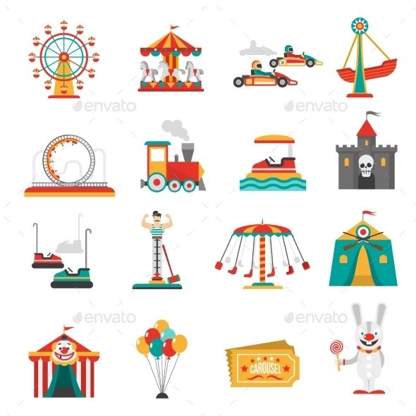 Amusement Park Icons - Industries Business
