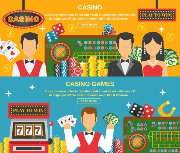 Casino and Gambling Banners Set  - Sports/Activity Conceptual