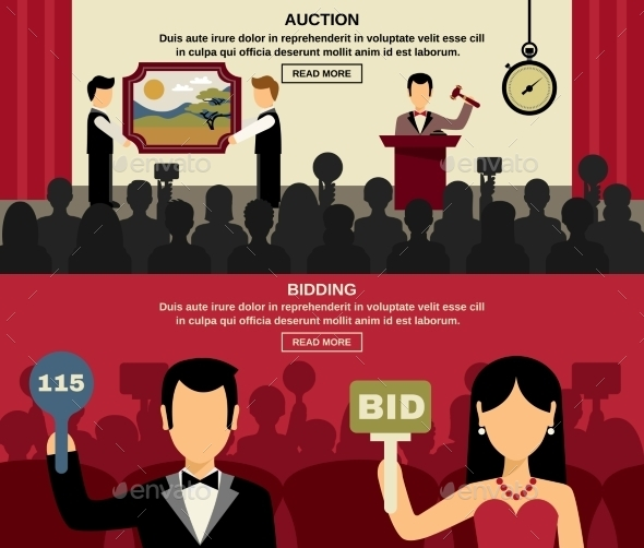 Auction and Bidding Banners Set  - Concepts Business