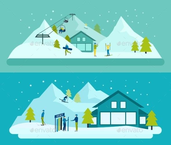 Ski Resort Banner Set - Sports/Activity Conceptual