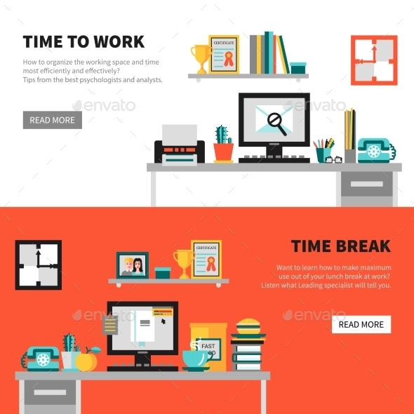 Office Banners with Workspace Design Sets - Business Conceptual