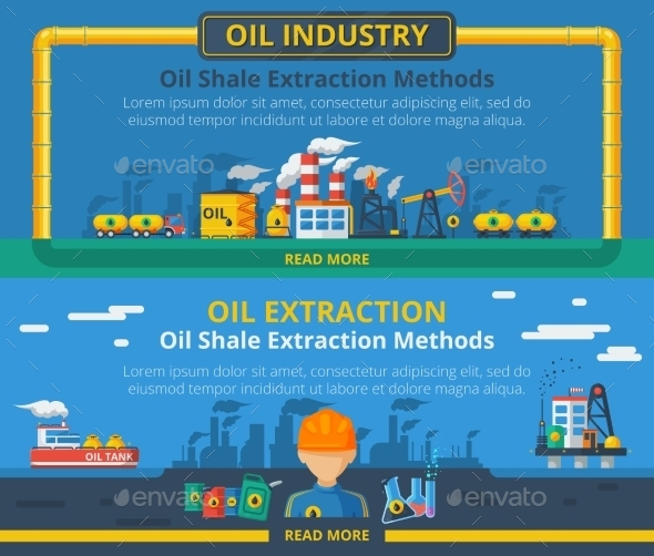 Oil Industry Banner Set - Backgrounds Business
