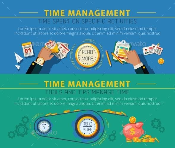 Tme Management Concept 2 Banners Set - Concepts Business