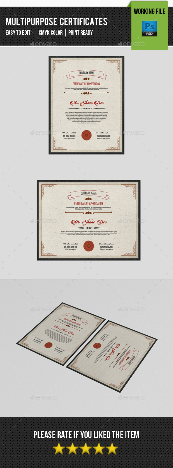 Multipurpose Certificate Template-V01 - Certificates Stationery