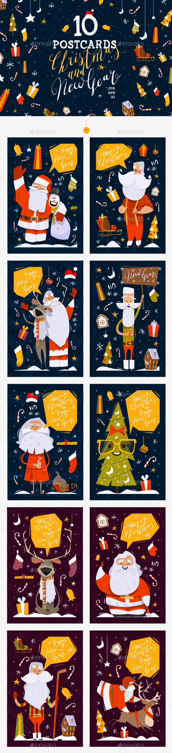 10 Christmas and New Year Postcards - Christmas Seasons/Holidays