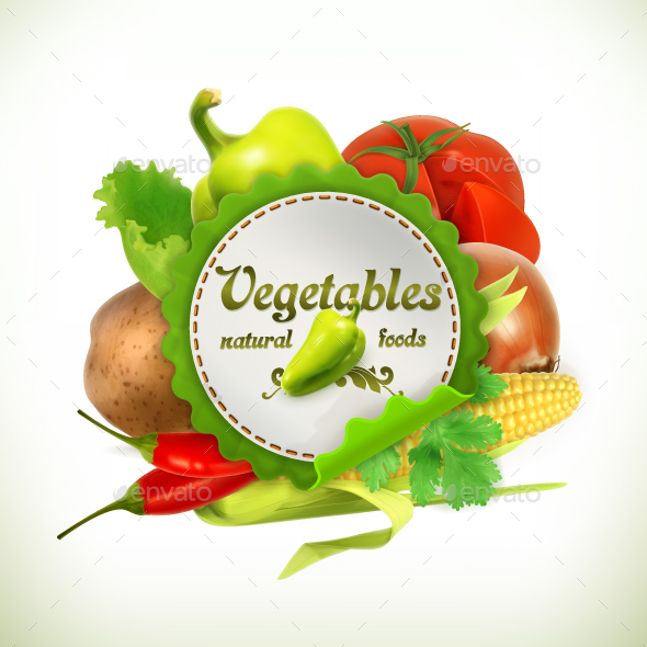 Vegetables Label - Vectors