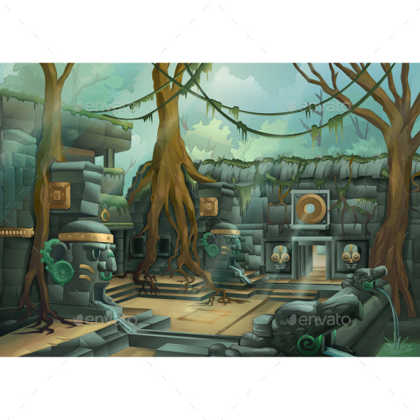 Ruins at Jungle - Vectors