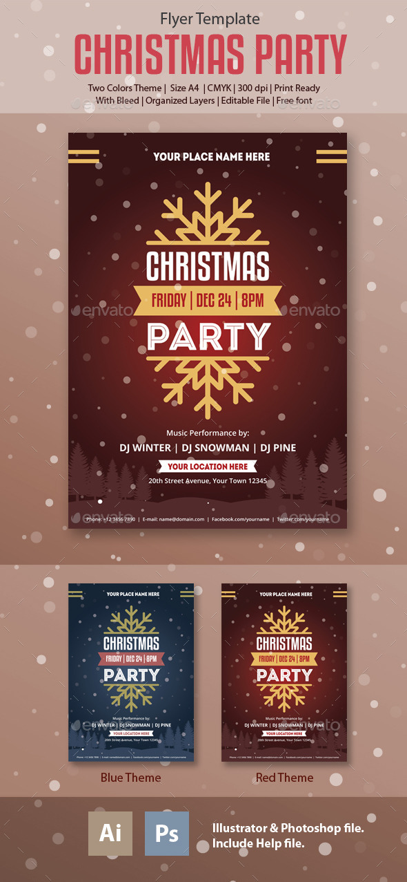 Christmas-Party Flyer Template - Holidays Events