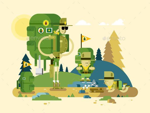 Group Scout Cartoon - Travel Conceptual