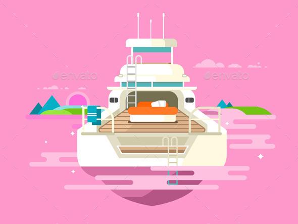 Yacht Flat Design - Travel Conceptual
