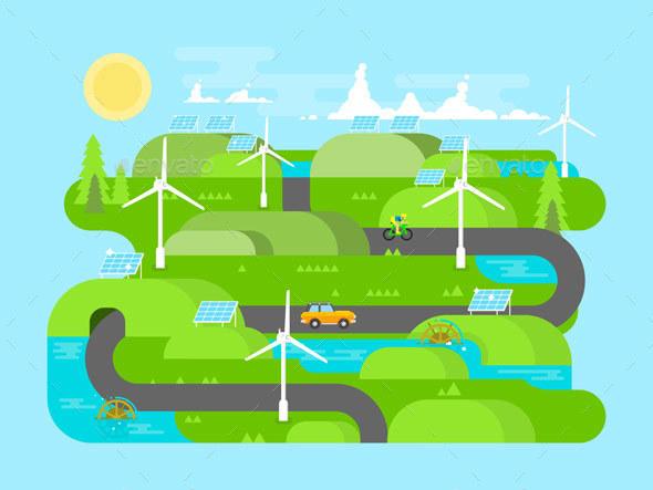 Green Energy Flat Design - Industries Business
