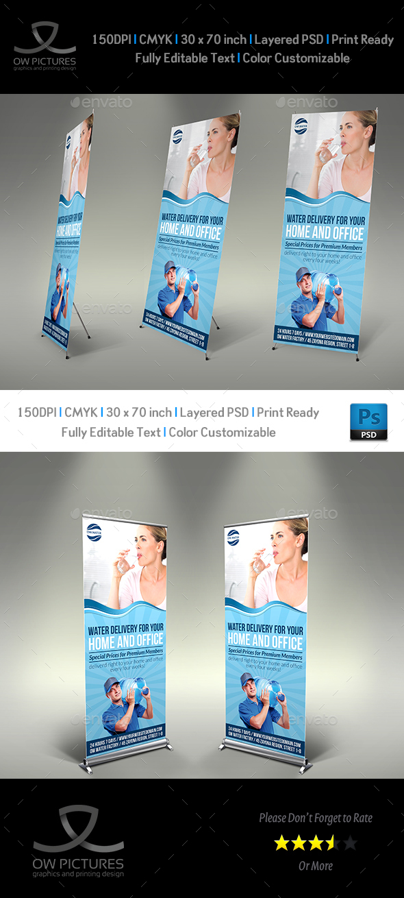 Delivery Drinking Water Service SignageTemplate - Signage Print Templates
